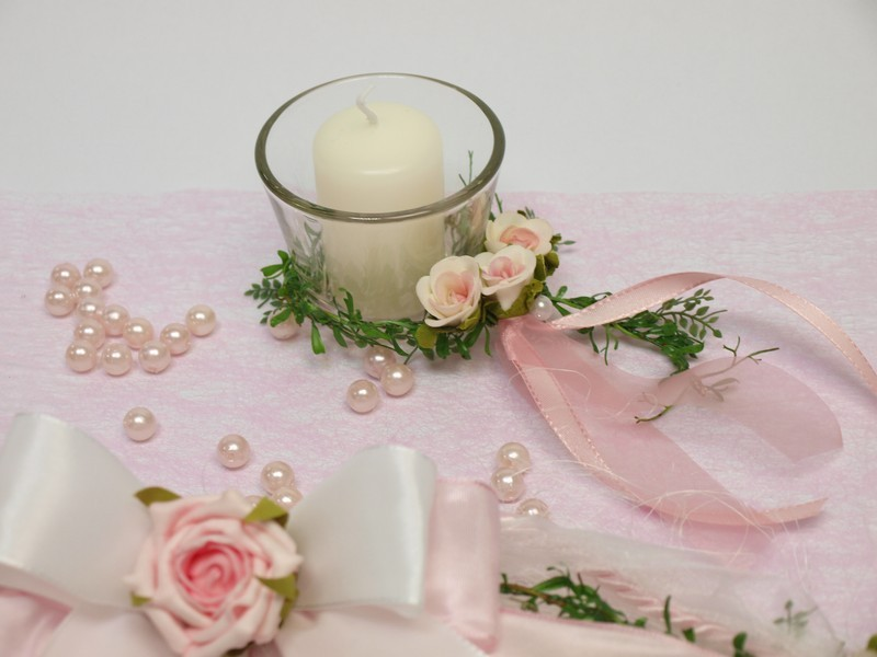 Dekoration Taufe Mädchen: SET 5 Kerze Votivglas Kerzenring Rosa Taufe Kerzen Und