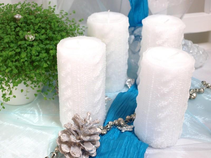 4 stumpen kerze wei zopfmuster strickmuster advent weihnachten adventskranz ebay. Black Bedroom Furniture Sets. Home Design Ideas