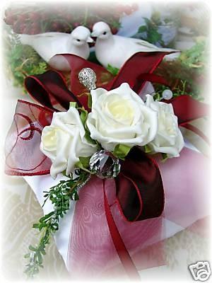 Ringkissen Bordeaux Wei Kissen Ringe Hochzeit Tischdeko