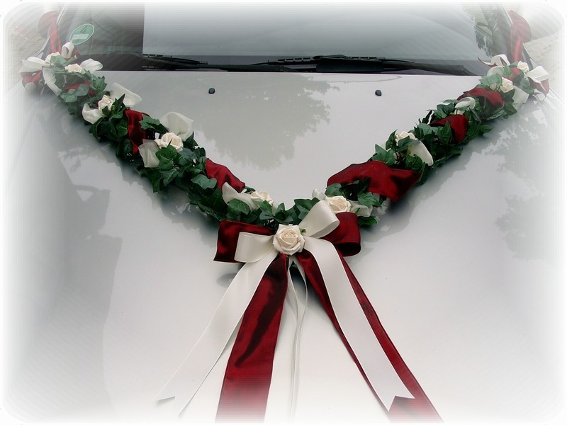 ... Autodeko Bordeaux Creme Hochzeit Autogirlande Girlande Efeu Hochzeit