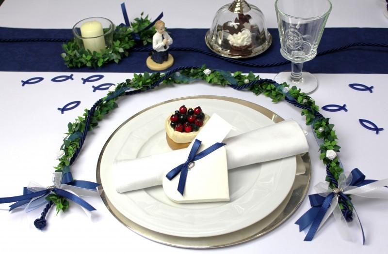 ehrenplatz blau kommunion konfirmation taufe tischdeko ehrengesteck ebay. Black Bedroom Furniture Sets. Home Design Ideas