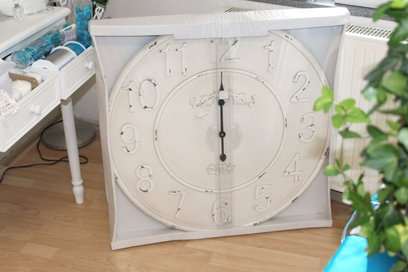 xxl gro e uhr wanduhr banhofsuhr antik wei creme landhaus vintage shabby ebay. Black Bedroom Furniture Sets. Home Design Ideas