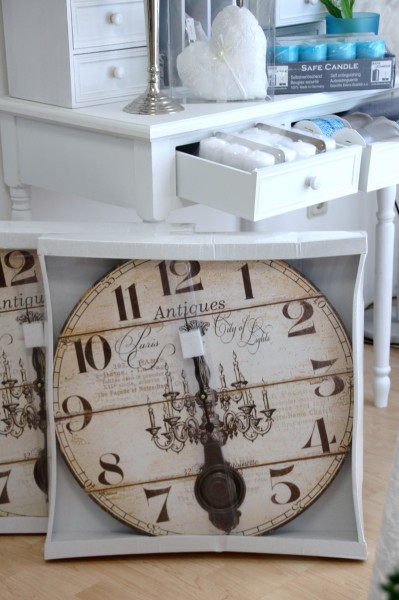 gro e uhr wanduhr pendel antik rund wei creme landhaus vintage shabby. Black Bedroom Furniture Sets. Home Design Ideas
