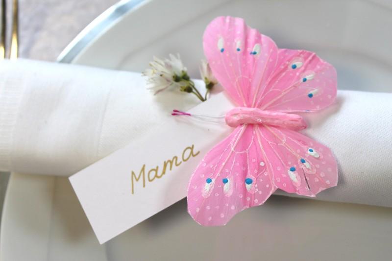 12 Schmetterlinge Rosa Pink Deko Tischdeko Kommunion Taufe Hochzeit ...