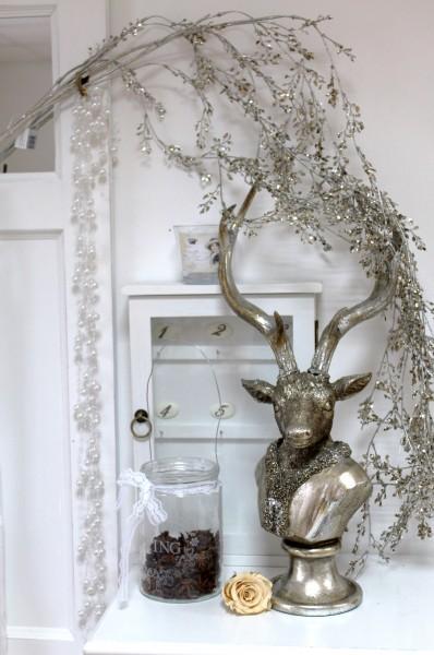 hirsch hirschkopf silber vintage shabby weihnachten. Black Bedroom Furniture Sets. Home Design Ideas