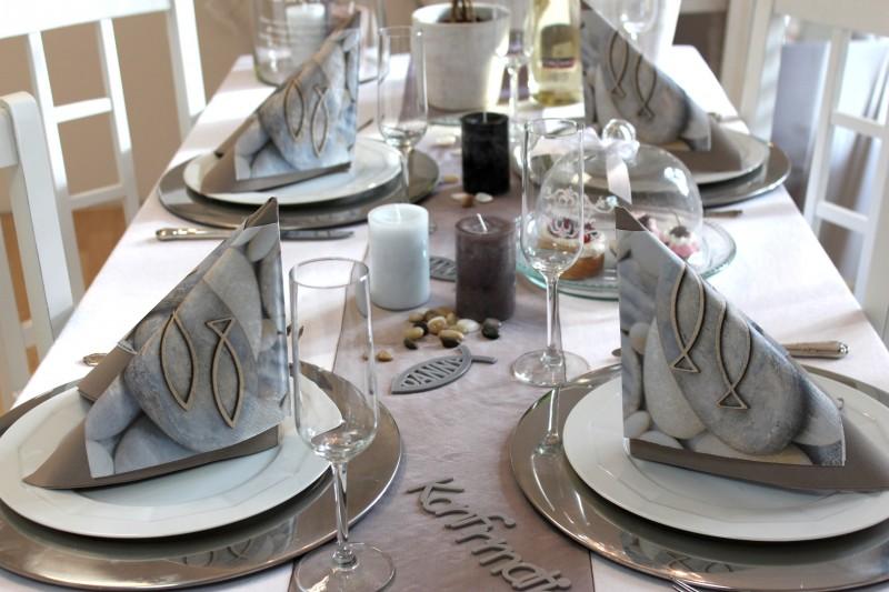 ... Fisch Servietten Kerzen Tischdeko Deko Braun Grau Creme Silber  eBay
