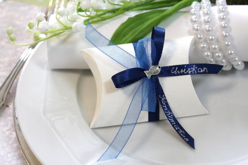 gastgeschenk tischdeko blau kommunion taufe konfirmation mandeln fisch beschrift ebay. Black Bedroom Furniture Sets. Home Design Ideas