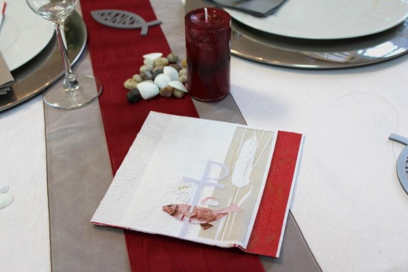 16 Servietten Kommunion Konfirmation Fisch Rot Creme Tischdeko Deko ...