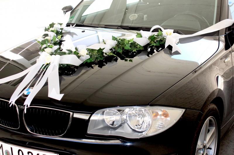Autoschmuck Weiß Autodeko Hochzeit Autogirlande Autoschleifen ...