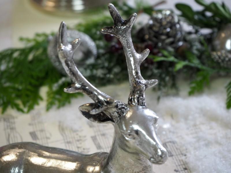 Hirsch Silber liegend Tischdeko Christmas World Deko Trends