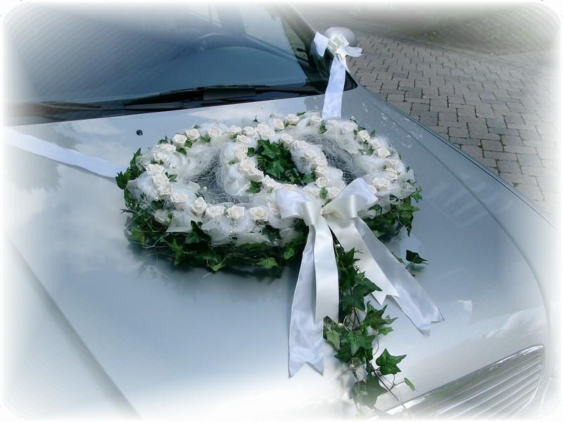 ... Autodeko Hochzeit Autoringe Doppelringe Efeu Creme Hochzeit Autodeko