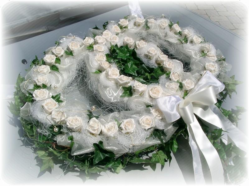 XXL Autoschmuck Autodeko Hochzeit Autoringe Doppelringe Efeu Creme ...