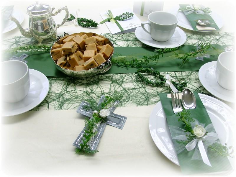 Tischdeko konfirmation blau grün  SET 20 Pers. Tischdeko Kommunion Konfirmation Grün Weiß Kreuz ...