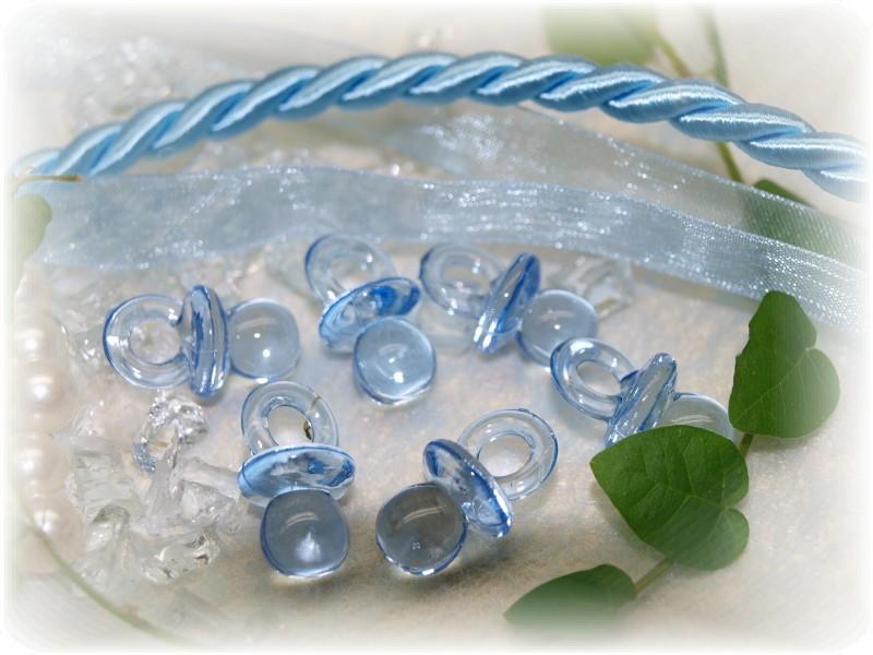 72 Schnuller Acryl Blau Streudeko Tischdeko Taufe Baby